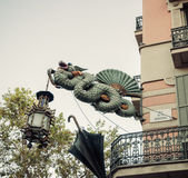 Dragon sculpture Barcelona. Catalonia, Spain. Stock Images