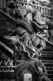 Dragon Sculpture in black and white at Kiyomizu-dera in Kyoto. Fearsome Dragon sculpture in black and white at the entry to the buddhist temple Kiyomizu-dera in stock photo