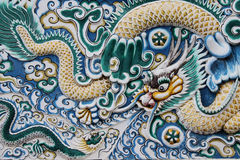 Dragon sculpture Chinese temple, Thailand. Royalty Free Stock Images