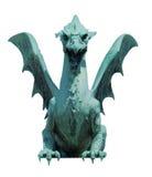Dragon sculpture front view  on white Stock Photo