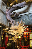 Dragon sculpture made of wood in Kuanzhai Alleys, Chengdu, China. Chengdu China, March 31, 2017 Dragon sculpture made of wood found along the famous Kuanzhai Royalty Free Stock Photography