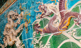 Dragon sculpture. Nine-Dragon Wall at Beihai park, Beijing, China Royalty Free Stock Photography