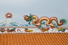 Dragon sculpture on roof Royalty Free Stock Images