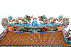 Dragon sculpture on the roof Stock Photo