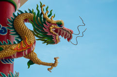 Dragon. Sculpture on the shrine or temple Royalty Free Stock Image