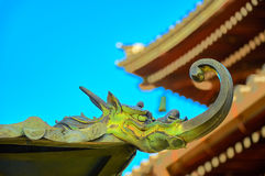 Dragon sculpture on temple ridge. The mystical roof guardian figure sets on the temple ridge to watch mankind to behavior and faithfulness Royalty Free Stock Photo