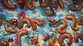 Dragon Sculptures at Chinese Temple, Chonburi,Thailan. Stock Photography