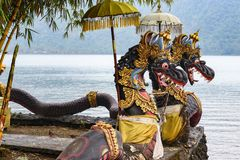 Dragon sculptures on the temple grounds Pura Ulun Danu Bratan, Bali, Indonesia royalty free stock image