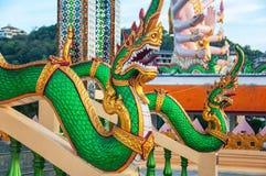 Dragon Sculptures Wat Plai Laem Temple famoso in Ko Samui Fotografia Stock Libera da Diritti