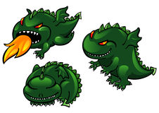 Dragon set. Set of greens cartoon dragons Stock Photography