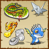 Dragon set, different objects with dragon image royalty free illustration