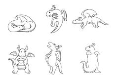 Dragon set. Illustrator design .eps 10 Royalty Free Stock Photo
