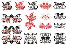Dragon set. Red and black options Stock Photos