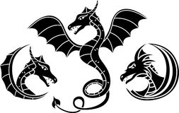 Dragon set stencil Stock Image