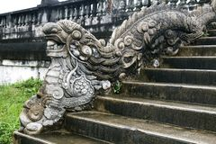 Dragon-shaped handrail in Hue Imperial Palace. Vietnam royalty free stock images