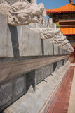 Dragon-shaped stones that adorn the walls of the walk way in a Chinese temple. Royalty Free Stock Image
