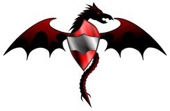 Dragon with shield. Image representing a stylized dragon with a shield, usable as logo, tattoo or for decoration Stock Photography