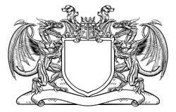 Dragon Shield Heraldic Crest Coat do emblema dos braços Foto de Stock