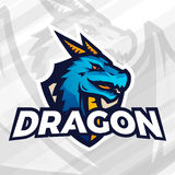 Dragon on shield sport mascot concept. Football or baseball patch design. College league insignia. Dragon on shield sport mascot template. Football or baseball Royalty Free Stock Photo