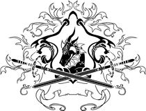 Dragon shield with swords. Illustration for web Stock Photography