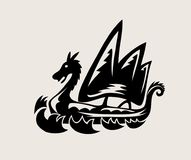 Dragon Ship Icon Logo, kunst vectorontwerp Stock Afbeelding