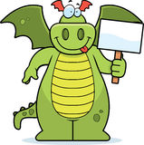Dragon Sign. A cartoon dragon holding a sign Stock Images