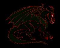 Dragon Silhouette Fotografie Stock