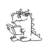 The dragon sits and reads a book. Vector illustration. stock photography