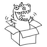 The dragon sitting in box. Vector illustration. Stock Photos