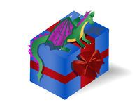 Dragon  sitting on the gift box Stock Photography