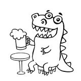 The dragon sitting with a mug of beer. Vector illustration. Stock Photos