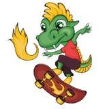 Dragon skater. Cartoon style. Clip art for children. Isolated image on white background Stock Image