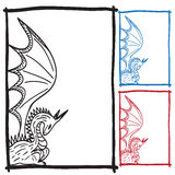 Dragon sketch frame picture Royalty Free Stock Images
