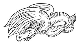 dragon sketch line art for coloring or print on clothes stock illustration