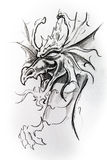 Dragon, sketch of tattoo Stock Photography