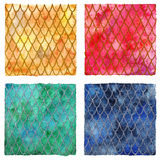 Dragon skin scales pattern texture background four colors set Stock Photos