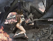 Dragon Slayer. Female sexy warrior engaged with an ancient winged fire breathing dragon Stock Image