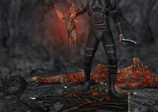 Dragon Slayer Slain Creature Illustration Royalty Free Stock Images