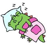 Dragon sleeping in bed illustration. royalty free illustration