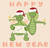 Dragon and snake celebrate the New Year Royalty Free Stock Photos
