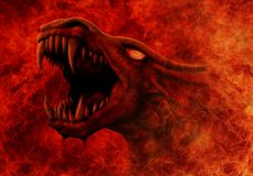 Dragon goes out of fire. Dragon with snarling mouth comes out of a raging fire stock illustration