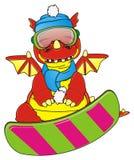Dragon and snowboard Royalty Free Stock Photos