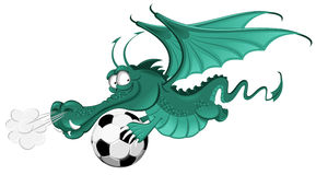 Dragon and soccer ball Stock Images