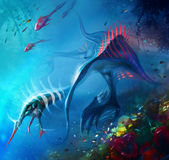 Dragon sous-marin Images libres de droits