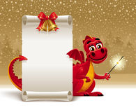 Dragon with a sparkler and paper scroll. Red dragon with a sparkler and paper scroll for greeting - Christmas illustration. Organized on layers Royalty Free Stock Image