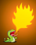 Dragon spewing flames. Illustration of a small dragon spewing flames Stock Image