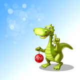 Dragon with sphere. Cheerful dragon with decorating ball Royalty Free Stock Photography