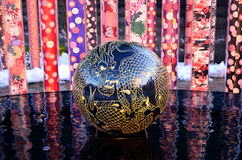 Dragon sphere on the water, Arashiyama Kyoto Japan. Royalty Free Stock Photos