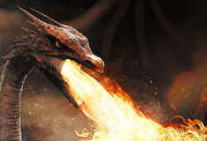 Dragon spitting fire. Close up with a dragon spitting fire royalty free illustration