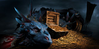 Dragon on the stack of gold. Fantasy scene with blue dragon, treasure chest and pile of golden coins Royalty Free Stock Image